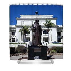 Shower Curtain featuring the photograph  Serra At City Hall by Mary Ellen Frazee