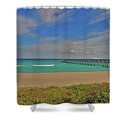 Shower Curtain featuring the photograph 1- Juno Beach Pier by Joseph Keane