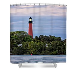 Jupiter Inlet Lighthouse Shower Curtain by Fran Gallogly