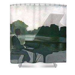 Justin Levitt Steinway Piano Spreckles Lake Shower Curtain