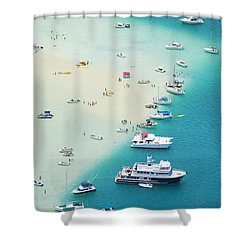 Kaneohe Bay, Boats Shower Curtain by Ron Dahlquist - Printscapes