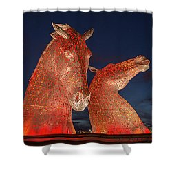 Kelpies Shower Curtain by Terry Cosgrave
