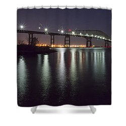 Key Bridge At Night Shower Curtain by Brian Wallace