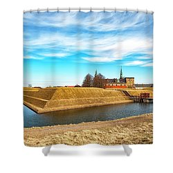 Shower Curtain featuring the photograph Kronborg Castle In Helsingor by Antony McAulay