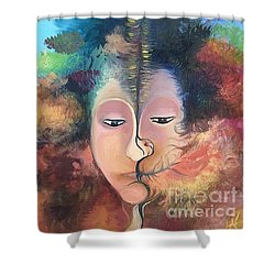 Shower Curtain featuring the painting La Fille Foret by Art Ina Pavelescu