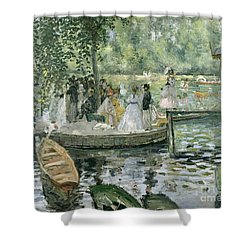 La Grenouillere Shower Curtain by Pierre Auguste Renoir