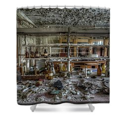 Shower Curtain featuring the digital art Lab 1 by Nathan Wright