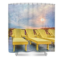 Laid Back Shower Curtain by Marion Johnson