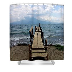 Lake Atitlan Dock Shower Curtain