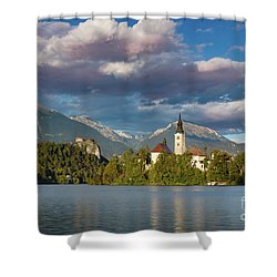 Shower Curtain featuring the photograph Lake Bled Evening by Brian Jannsen