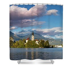 Shower Curtain featuring the photograph Lake Bled Panoramic by Brian Jannsen