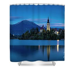 Shower Curtain featuring the photograph Lake Bled Twilight by Brian Jannsen