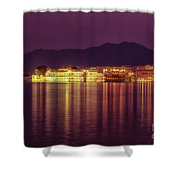 Shower Curtain featuring the photograph Lake Palace Night Scenery by Yew Kwang