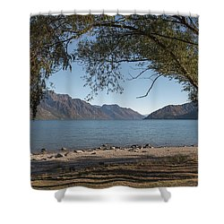 Shower Curtain featuring the photograph Lake Wakatipu Shore Early Morning by Gary Eason