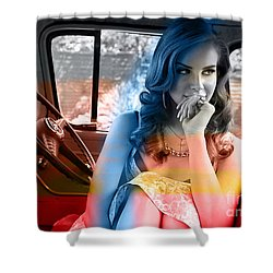 Shower Curtain featuring the mixed media Lana Del Rey by Marvin Blaine