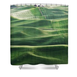 Land Waves Shower Curtain by Ryan Manuel