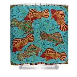 Large Barramundi Swimming  Shower Curtain