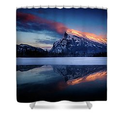 Last Light On Mount Rundle Shower Curtain