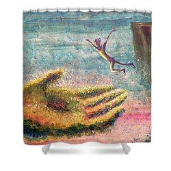 Shower Curtain featuring the painting Leap Of Faith by Lisa DuBois