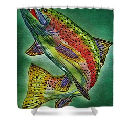 Leaping Trout Shower Curtain by Scott D Van Osdol