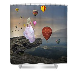 Shower Curtain featuring the mixed media Letting Go by Marvin Blaine