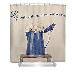 Comfort Zone Shower Curtain by Kim Hojnacki