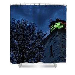 Lighthouse At Night Shower Curtain by Joe  Ng