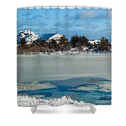 Lighthouse Inn In Winter Shower Curtain by Michelle Wiarda