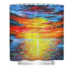 Shower Curtain featuring the painting  Lighthouse Sunset Ocean View Palette Knife Original Painting by Georgeta Blanaru