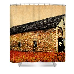 Lime Stone Barn Shower Curtain