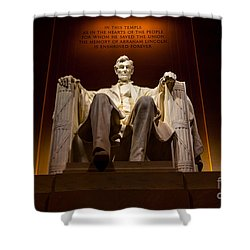 Lincoln Memorial At Night - Washington D.c. Shower Curtain by Gary Whitton