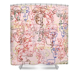 line faces I Shower Curtain