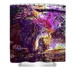 Shower Curtain featuring the digital art Lion Cat Zoo Male Big Cat Africa  by PixBreak Art