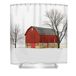 Little Red Barn Shower Curtain