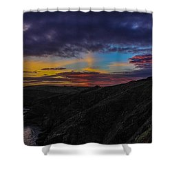 Lizard Point At Sunset  Shower Curtain by Claire Whatley