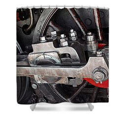 Locomotive Wheel Shower Curtain by Carlos Caetano