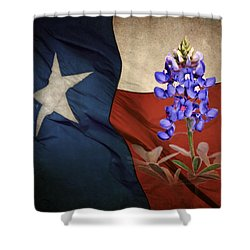 Lone Star Bluebonnet Shower Curtain by David and Carol Kelly