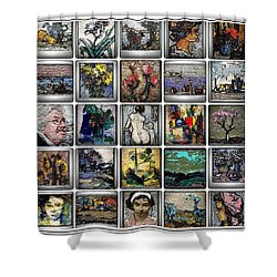 Shower Curtain featuring the mixed media Panorama Digital Graphics 1 by Pemaro