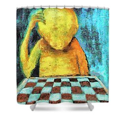 Lonesome Chess Player Shower Curtain by Michal Boubin
