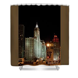 Looking North On Michigan Avenue At Wrigley Building Shower Curtain