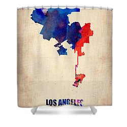 Los Angeles Watercolor Map 1 Shower Curtain