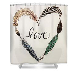 Feathers Of Love Shower Curtain by Elizabeth Robinette Tyndall