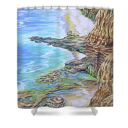 Low Tide Sunset Cliffs Shower Curtain by Jane Girardot
