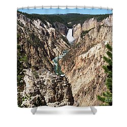 Lower Falls From Artist Point In Yellowstone National Park Shower Curtain by Louise Heusinkveld