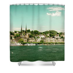 Shower Curtain featuring the photograph Lucerne Panorama by Wolfgang Vogt