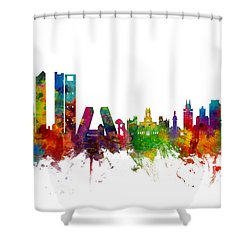 Madrid Spain Skyline Shower Curtain by Michael Tompsett