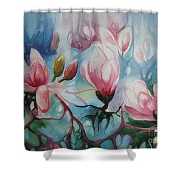 Shower Curtain featuring the painting Magnolia by Elena Oleniuc
