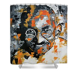 Shower Curtain featuring the painting Mahatma Gandhi by Richard Day