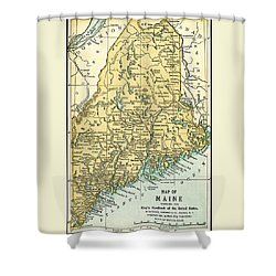 Maine Antique Map 1891 Shower Curtain by Phil Cardamone
