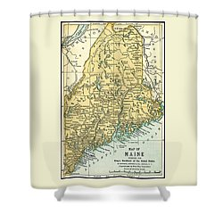 Maine Antique Map 1891 Shower Curtain